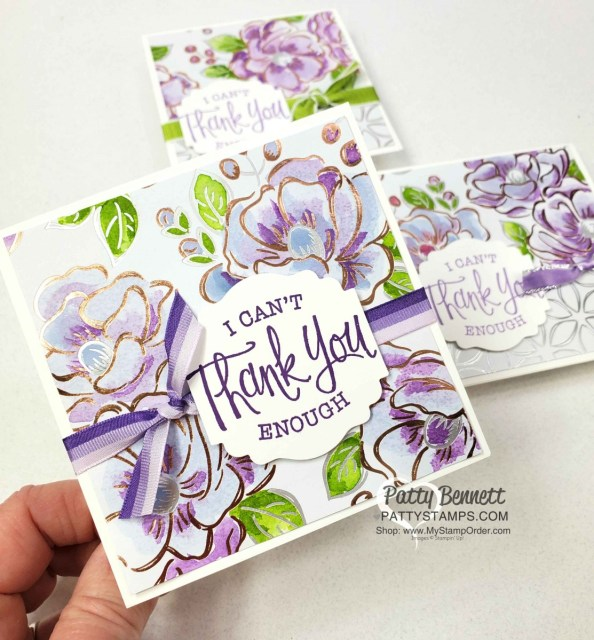 Flowering Foils designer paper card ideas, featuring watercoloring technique with Stampin Up ink refills. by Patty Bennett www.PattyStamps.com
