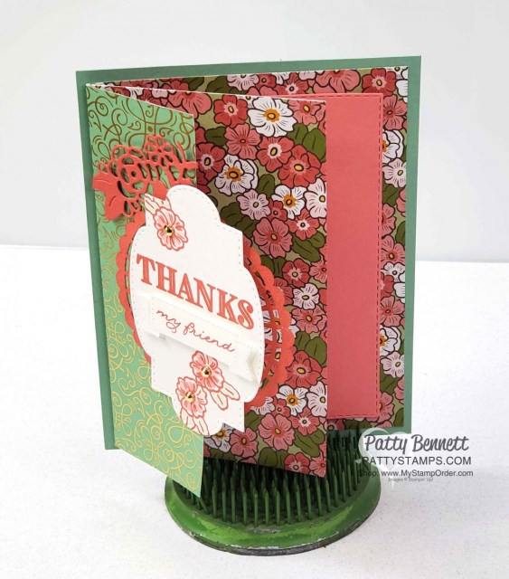 Ornate Garden Suite - Stampin' Up! designer paper, stamps, dies and accessories. Fun Fold Card  by Patty Bennett www.PattyStamps.com