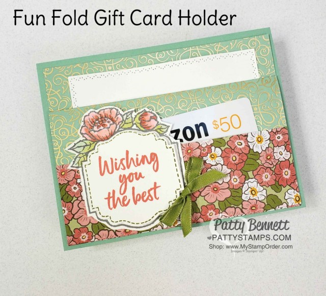 Ornate Garden Fun Fold Card - Gift Card Holder Style, also featuring Sale-a-Bration Tags in Bloom stamp set. www.PattyStamps.com
