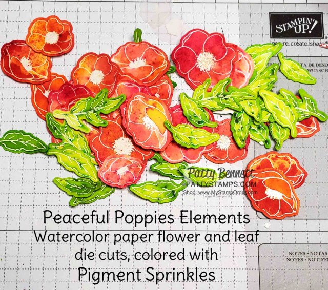 Peaceful Poppies Elements - watercolor paper flowers and leaves colored with Pigment Sprinkles from Stampin' Up! www.pattystamps.com