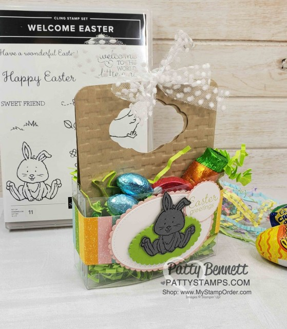 Easter Bunny Treat box featuring Stampin UP Welcome Easter set, Pleased as Punch designer paper and 1 Acetate card box cut in half! www.PattyStamps.com
