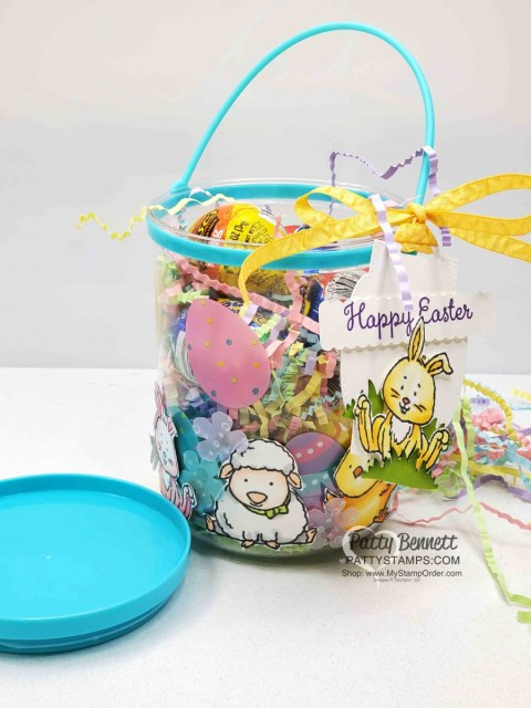 DIY Easter Treat Basket from the Dollar Store! Stampin' UP! Welcome Easter stamp set colored with Stampin Blends markers. by Patty Bennett www.PattyStamps.com