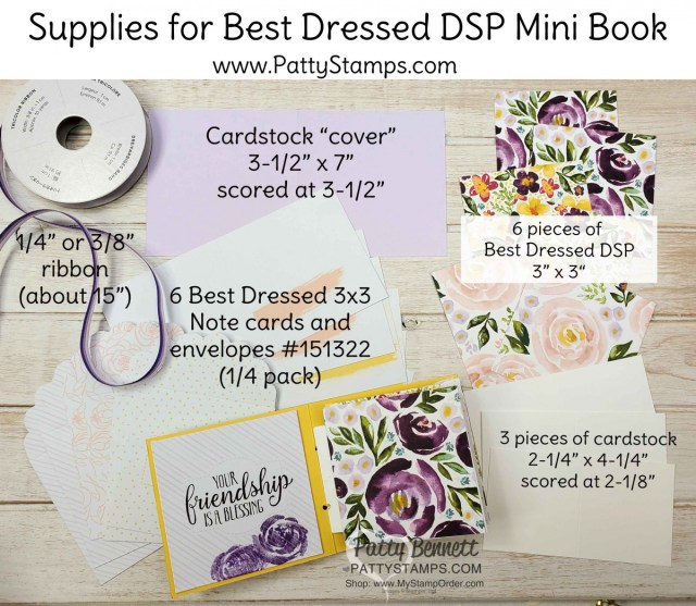 Supplies for a cute Mini Book for friendship, encouragement, thinking of you, birthday or Mother's Day with Stampin' UP! Best Dressed designer paper, by Patty Bennett www.PattyStamps.com