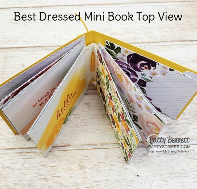 Make a cute Mini Book for friendship, encouragement, thinking of you, birthday or Mother's Day with Stampin' UP! Best Dressed designer paper, by Patty Bennett www.PattyStamps.com