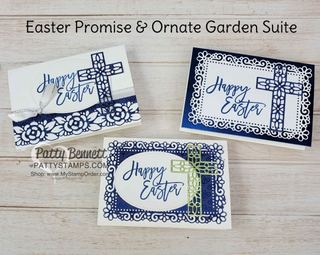 Stampin Up Easter Card Idea featuring Noble Peacock foil, Easter Promise set, and Ornate Layers dies by Patty Bennett www.PattyStamps.com