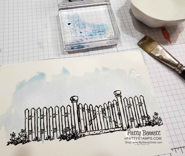 How I watercolored the Stampin Up Grace's Garden fence, gate and flowers card, by Patty Bennett www.PattyStamps.com