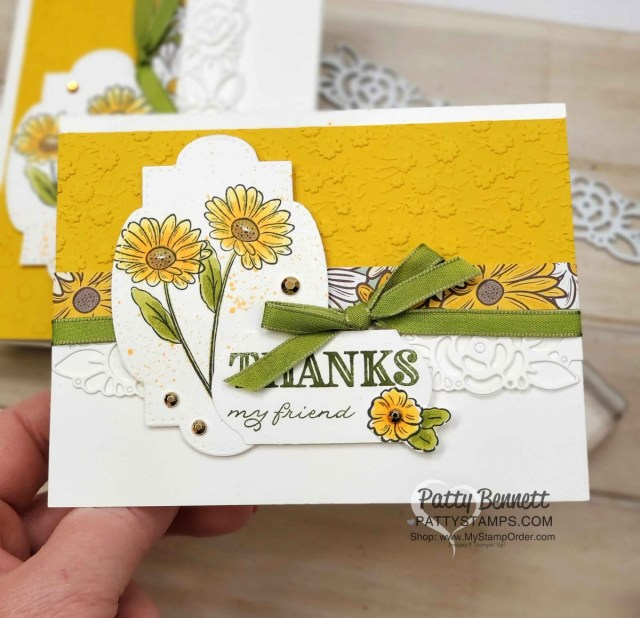 Ornate Borders Dies from Stampin' UP! create gorgeous floral die cut images on handmade cards. Ornate Garden Suite. www.PattyStamps.com