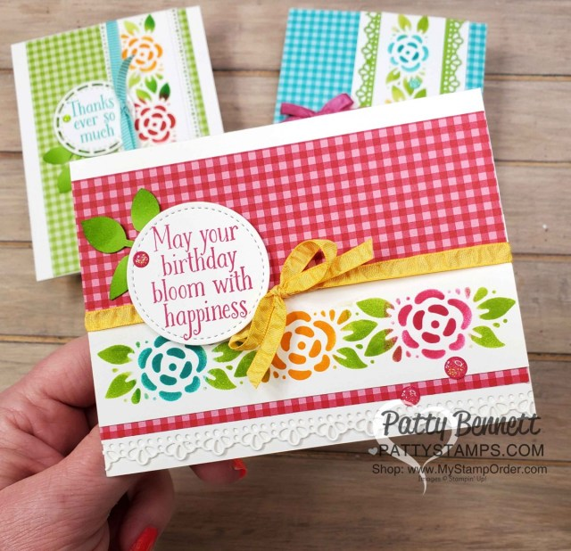 Birthday Card Idea featuring Ornate Borders dies and Gingham designer paper with stenciled design using sponge daubers and ink pads. Cardmaking supplies from Stampin' Up!. www.pattystamps.com
