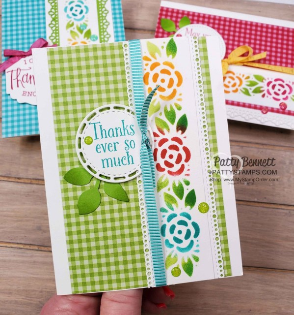 Thank You Card Idea featuring Ornate Borders dies and Gingham designer paper with stenciled design using sponge daubers and ink pads. Cardmaking supplies from Stampin' Up!. www.pattystamps.com