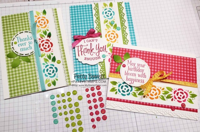 Glitter Enamel Dots embellishments for my Ornate Borders dies cards featuring Gingham designer paper. Cardmaking supplies from Stampin' Up!. www.pattystamps.com