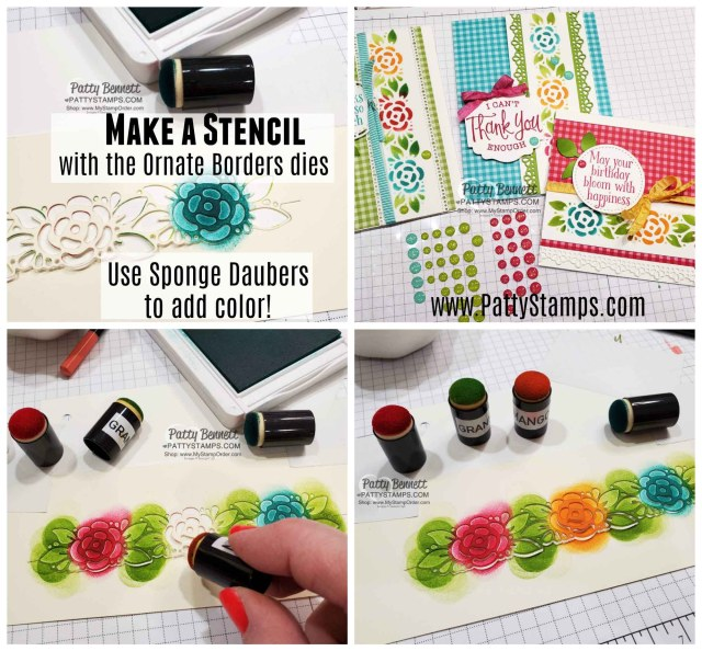 Use the Ornate Borders dies as a stencil and add color to the flowers and leaves with sponge daubers. Cardmaking supplies from Stampin' Up!. www.pattystamps.com