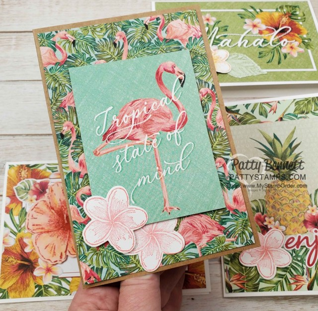 Handmade card idea featuring Tropical Oasis Memories & More cards with Stampin Up Timeless Tropical plumeria flower. www.PattyStamps.com
