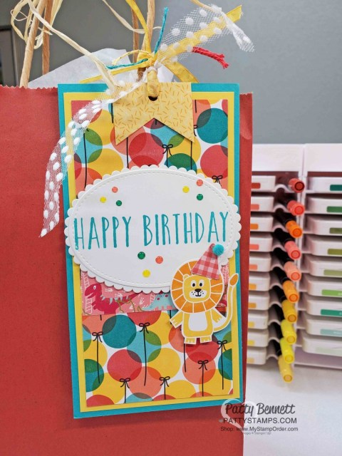 Birthday Bonanza Stampin' Up! designer paper birthday gift bag tag idea. www.PattyStamps.com