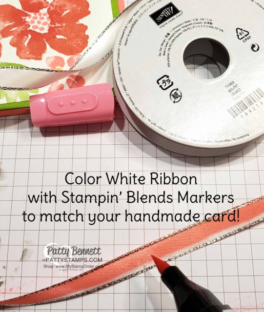Tip! create matching ribbon for your handmade card by coloring on white ribbon with a Stampin Blends marker! www.PattyStamps.com