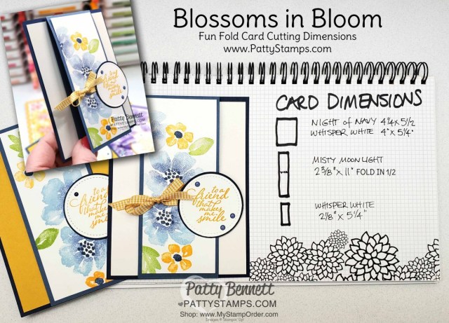 Cutting Dimensions  for Blossoms in Bloom stamp set from Stampin Up #152684 stamped with the Stamparatus with ink pads and sponge daubers. cards by Patty Bennett www.PattyStamps.com