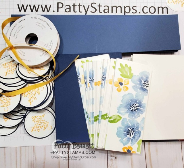 Card Making Supplies for Blossoms in Bloom stamp set from Stampin Up #152684 stamped with the Stamparatus with ink pads and sponge daubers. cards by Patty Bennett www.PattyStamps.com