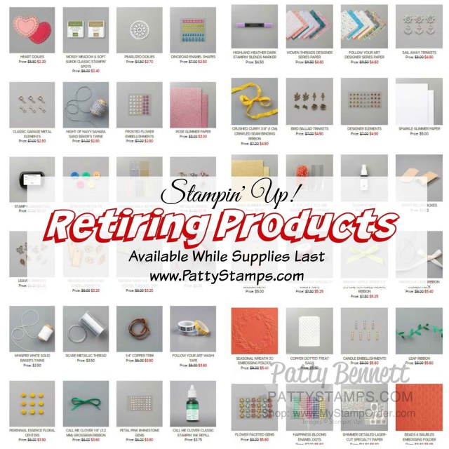 Retiring Stampin' UP! papercrafting and card making products May 2020 www.PattyStamps.com
