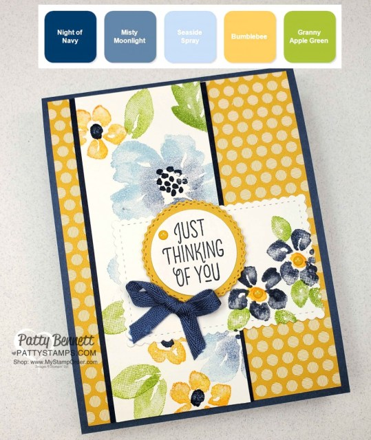 Stampin Up color combo for Blossoms in Bloom floral card featuring Stampin Up Bumblebee and Misty Moonlight 2020 2022 IN Colors, by Patty Bennett www.PattyStamps.com