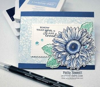 Easy Blue Sunflower Card with Blender Pen