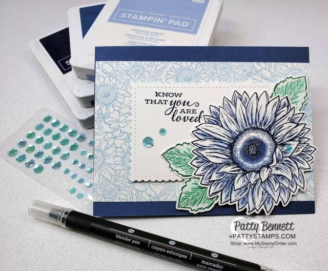 Use a Blender Pen to shade ink on this blue sunflower card featuring Celebrate Sunflowers bundle from Stampin UP!. by Patty Bennett www.PattyStamps.com