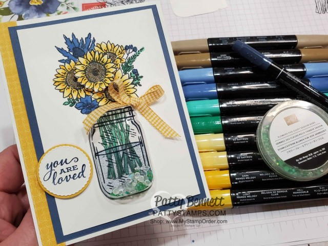 Jar of Flowers Sunflower card with Mason Jar shaker dome. Colored with Stampin' Blends alcohol markers  by Patty Bennett www.PattyStamps.com