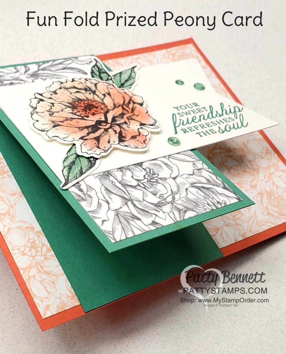 fun fold peony flower card  patty stamps