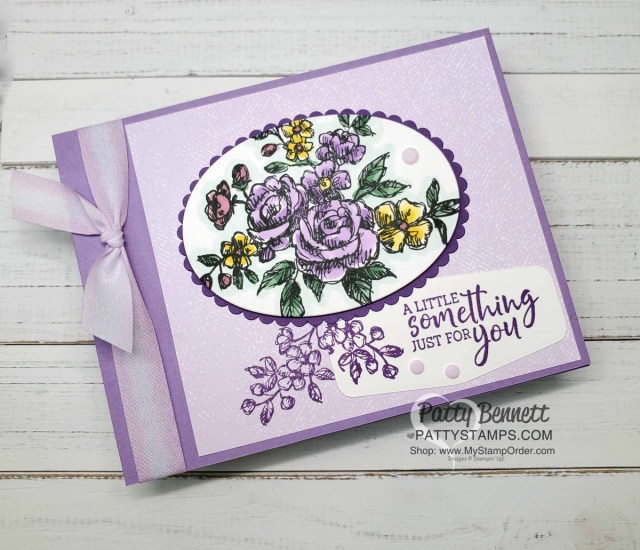 Stampin Up Fancy Phrases floral stamp set #152530 is a great outline flower stamp perfect for coloring with Stampin' Blends markers. by Patty Bennett www.PattyStamps.com
