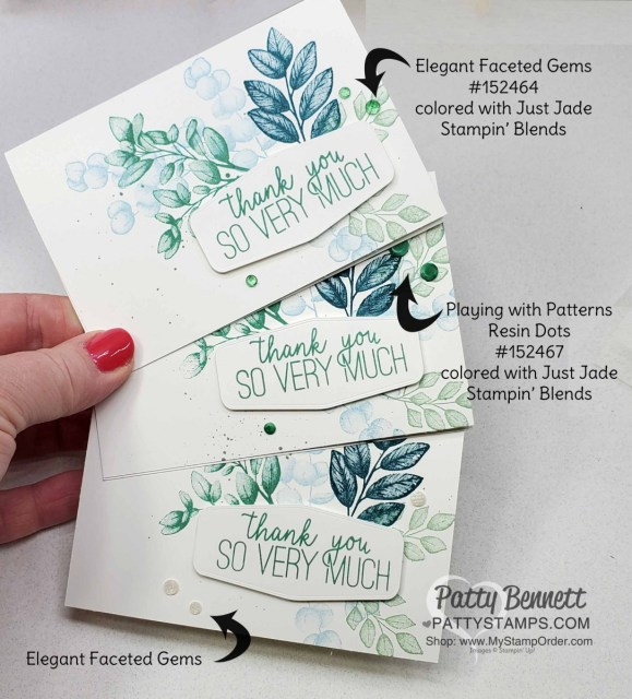 Stampin Up Forever Fern stamp set #152559 card idea with embellishments colored with Just Jade Stampin Blends marker, by Patty Bennett www.PattyStamps.com