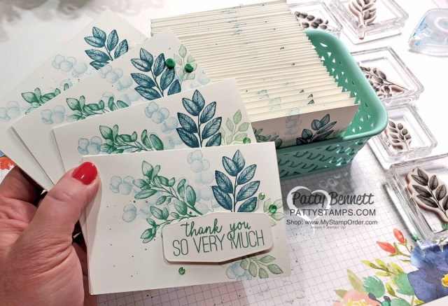 Stampin Up customer thank you cards with Forever Fern stamp set, featuring Elegant Faceted Gems colored with Stampin Blends markers by Patty Bennett www.PattyStamps.com