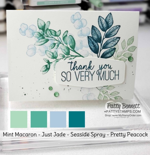 Stampin Up color combo for customer thank you cards with Forever Fern stamp set #152559, by Patty Bennett www.PattyStamps.com