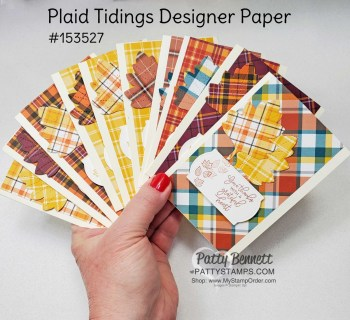 Plaid Tidings with Stitched Leaves Dies Note Cards