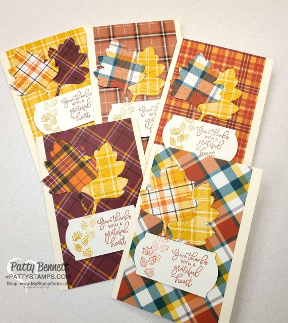 Create quick handmade fall note cards with the Stampin' UP! Plaid Tidings paper stack, Stitched Leaves dies and the Autumn Greetings stamp set. www.PattyStamps.com