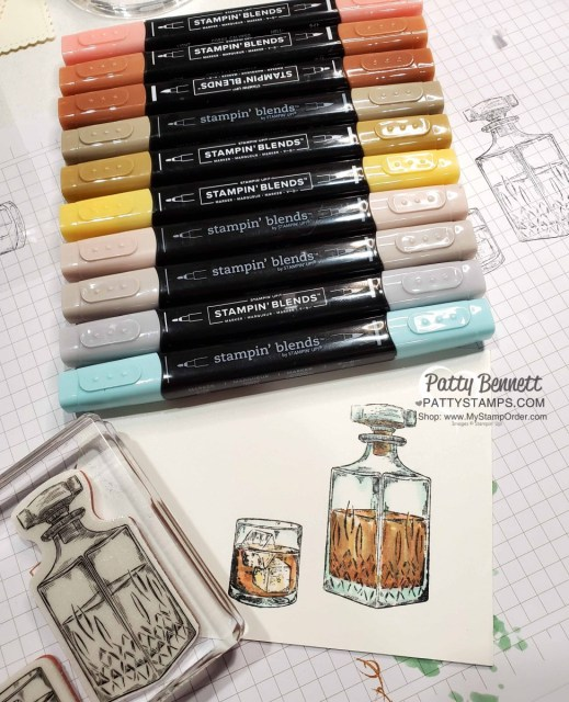 Whiskey Business stamp set featuring coloring with Stampin' Up! Blends markers, by Patty Bennett www.PattyStamps.com