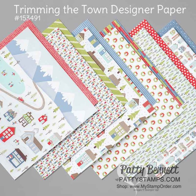 Stampin Up Trimming the Town designer paper #153491 for winter and Christmas card making and paper crafting projects. www.PattyStamps.com