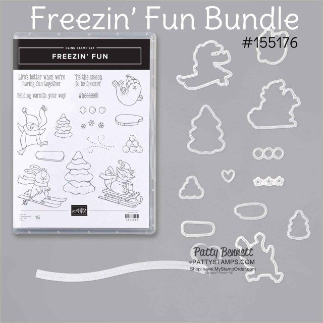 Stampin Up Freezin' Fun bundle #155176 for winter and Christmas card making and paper crafting projects. www.PattyStamps.com