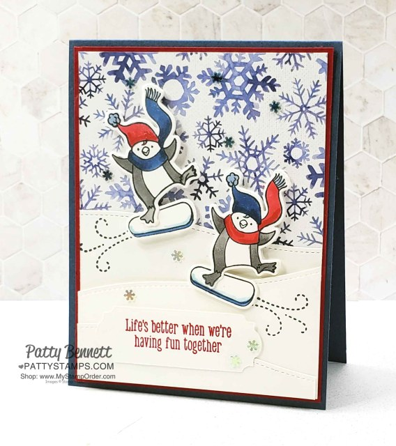 Freezin Fun penguin cards featuring Stampin' UP! Snowflake Splendor designer paper background, by Patty Bennett www.PattyStamps.com