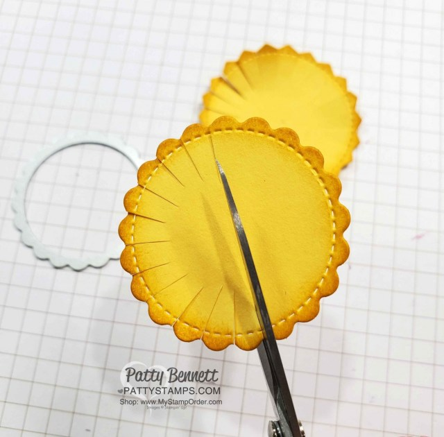 Stampin Up Little Treat Box dies scallop image creates a cute punch art sunflower! #153571 at www.PattyStamps.com