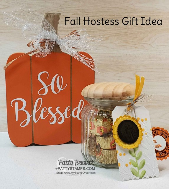 Fall Hostess gift idea featuring Stampin' UP! Metallic Mesh Ribbon on wooden pumpkin. Treats in a jar decorated with sunflower punch art tag. www.PattyStamps.com