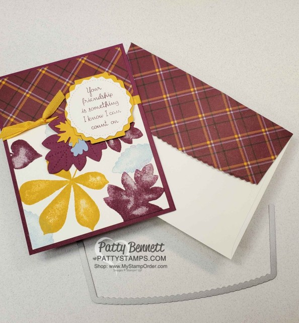 Plaid Tidings Stampin' UP! paper and Love of Leaves bundle and Bumblebee ribbon fall card idea by Patty Bennett www.PattyStamps.com