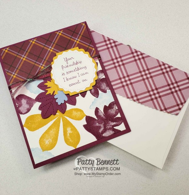 Plaid Tidings Stampin' UP! paper and Love of Leaves bundle and Snowflake Splendor iridescent ribbon colored with Stampin Blends fall card idea by Patty Bennett www.PattyStamps.com
