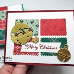 Quick and Easy handmade Christmas Card idea with the Stampin UP! postage stamp punch, Sounds of the Season bells dies and Tis the Season designer paper. www.PattyStamps.com