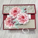 Merry Merlot cardstock base and ink on Prized Peony flowers creates a striking card. Create a quick and easy gift card holder with Stampin