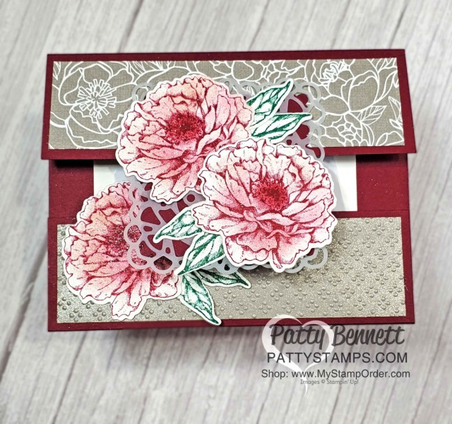 Merry Merlot cardstock base and ink on Prized Peony flowers creates a striking card. Create a quick and easy gift card holder with Stampin' UP! papercrafting supplies. www.PattyStamps.com