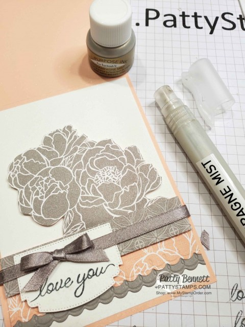 Make a spray mist with Champagne Shimmer paint, rubbing alcohol and a Stampin' Spritzer from Stampin' UP! Spray shimmer on your handmade cards and papercrafting projects.  www.PattyStamps.com