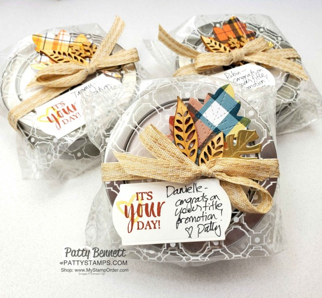 Round Tins from Stampin' Up! great for gift packaging for the holidays. www.PattyStamps.com