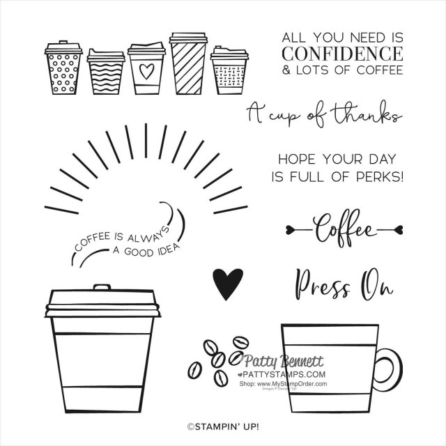 Stampin' UP! Press On stamp set coffee cups #153392 www.MyStampOrder.com