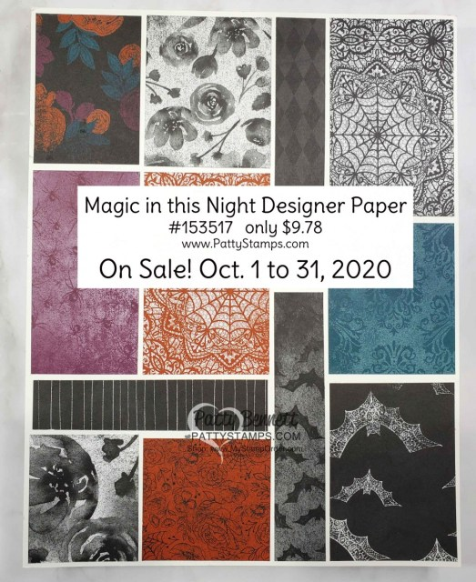 153517 Magic in this Night Halloween Designer Paper sale Oct 2020 from Stampin' UP! shop with Patty Bennett www.MyStampOrder.com