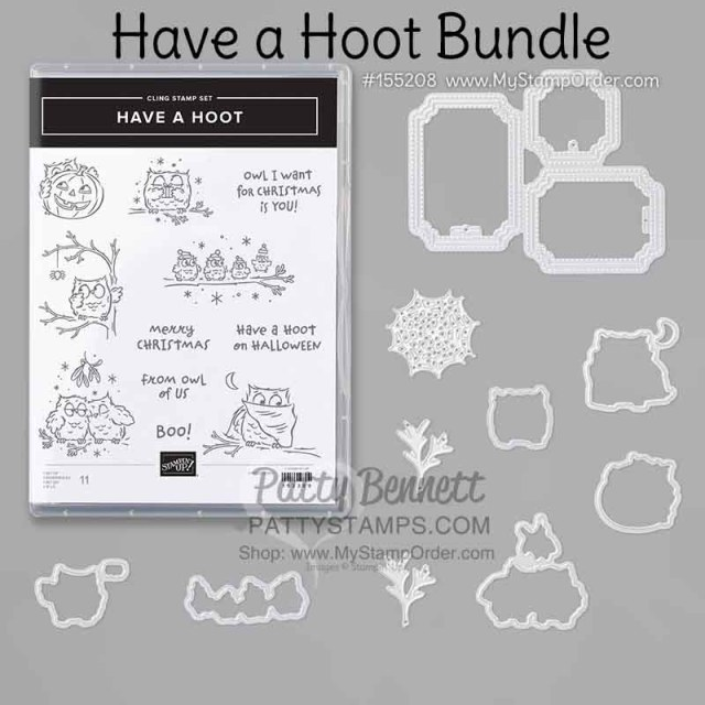 Halloween crafting fun with Stampin' UP! Have a Hoot bundle #155208 www.PattyStamps.com