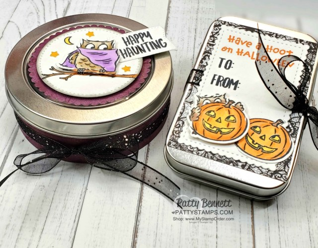 Halloween Treat Tins from Stampin' UP! featuring the Have a Hoot bundle, colored with Stampin' Blends markers, by Patty Bennett