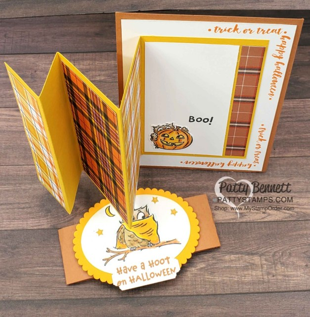 Plaid Tidings designer paper Fun Fold card featuring Stampin' UP! Have a Hoot bundle.  Owl colored with Stampin' Blends markers. www.PattyStamps.com
